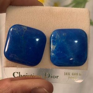 Vintage 80s CHRISTIAN DIOR lapis stone earrings
